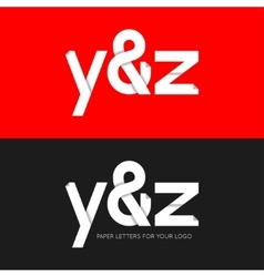 Letter y and z logo paper set background vector