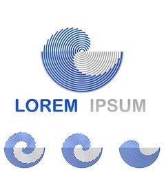 Blue water technology logo design set vector