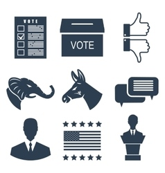Elections campaign and voting set signs symbols vector