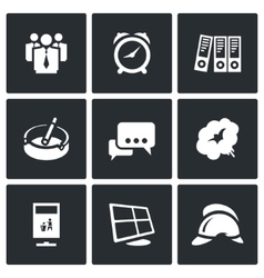 Set of office fire alarm icons team time vector