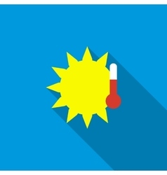 Sun with thermometer icon flat style vector