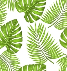 Seamless wallpaper with green tropical leaves for vector
