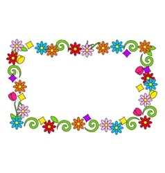 Floral frame of bright colors vector