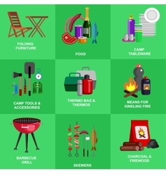 Camping and barbecue object vector