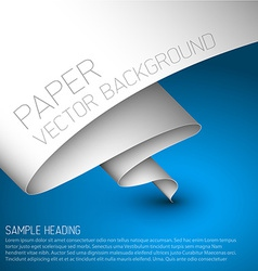 Blue simple background with white paper vector image vector image