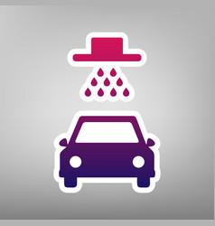 car wash sign purple gradient icon on vector image