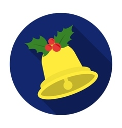 Christmas bell with holly berry icon in flat style vector image vector image