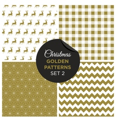 christmas golden patterns set 2 vector image vector image