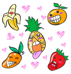 Collection of fruit character doodles vector