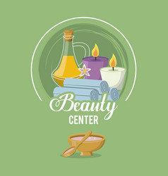 colorful logo of beauty center with set of bottle vector image