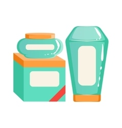 Cream shampoo and box of wipes containers beauty vector