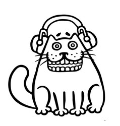 Cute cat in headphones isolated vector