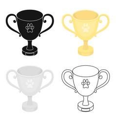 Dog award icon in cartoon style for web vector