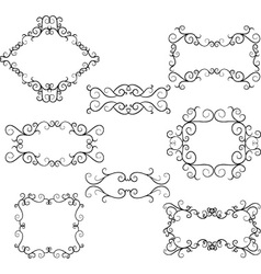 Flourish Swirl Border Frame Collection vector image vector image