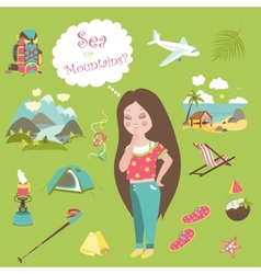 Girl thinks where to travel mountains or sea vector image