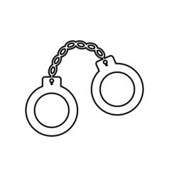 Handcuffs outline icon Linear vector image vector image