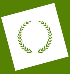 Laurel wreath sign white icon obtained as vector