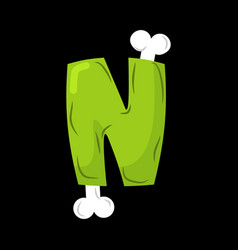letter n zombie font monster alphabet bones and vector image