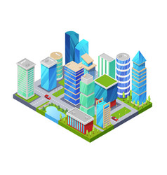 modern downtown isometric 3d icon vector image vector image