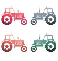 Multicolor tractor icon set vector