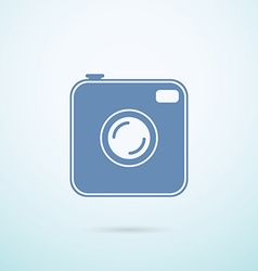 Old photocamera flat icon on blue background vector image vector image