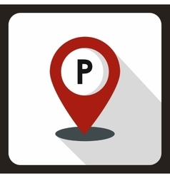 Parking map pin icon flat style vector