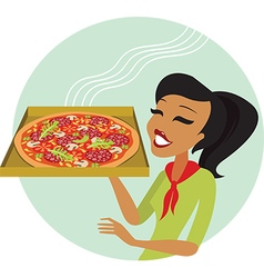 pizza girl vector image vector image