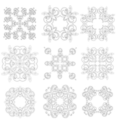 Set of ornaments black white cards with mandalas vector