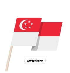Singapore ribbon waving flag isolated on white vector