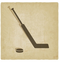 Sport hockey logo old background vector