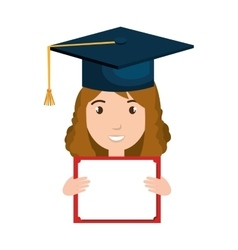 student character with hat graduation and diploma vector image