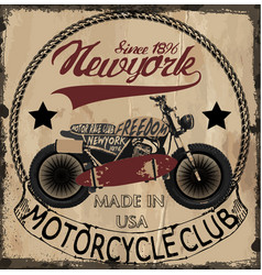 t-shirt print with motorcycle and grunge texture vector image