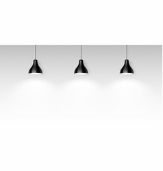 three black hanging ceiling lamps vector image