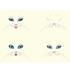 White Cat Face with Blue Eyes vector image vector image