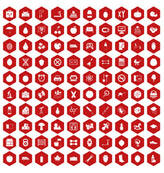 100 apple icons hexagon red vector