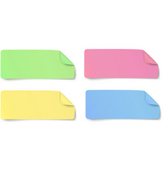Set of color rectangular oblong paper stickers vector