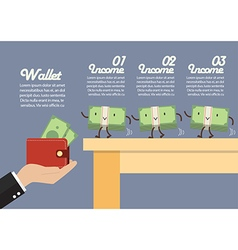 Money walking into a wallet infographic vector