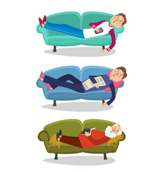 man sleep on sofa  sleeping vector image