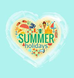 Summer holidays heart poster vector