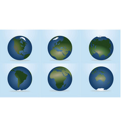 World globe with continents map vector