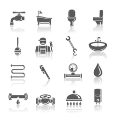Plumbing tools pictograms set vector image