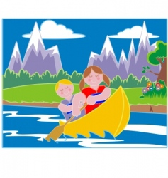 Youths in a canoe vector