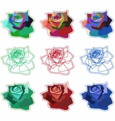 simple coloured rose icons vector image