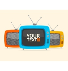 Banner retro tv flat design vector