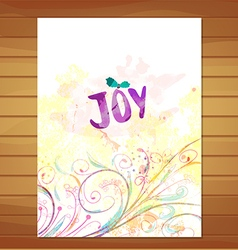 Joy card watercolor floral background vector