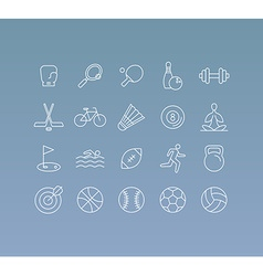 Set of 20 icons and sign in mono line style vector