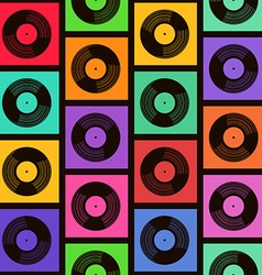 Seamless pattern of vinyl records vector