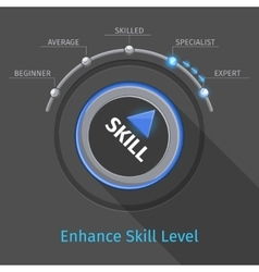 Skill levels knob button or switch vector