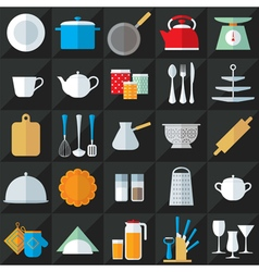 Kitchenware flat icons set vector
