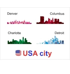 Usa city silhouettes vector